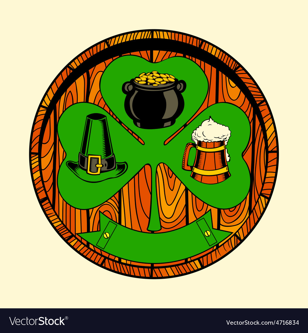 Round wooden shield with shamrock vector