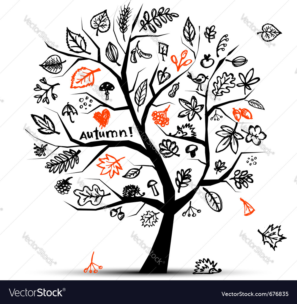 Autumn tree sketch vector