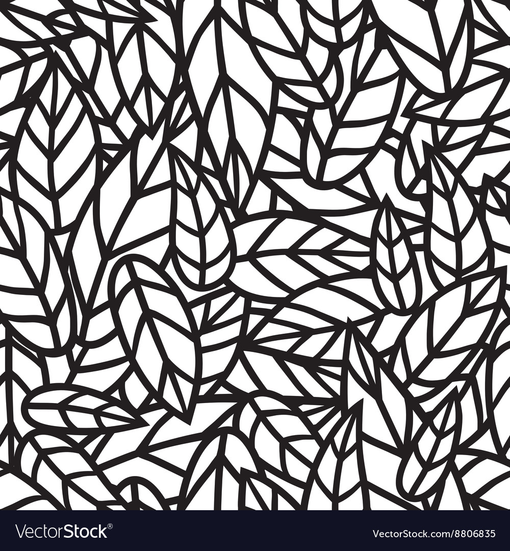 Black and white leaf nature seamless vector