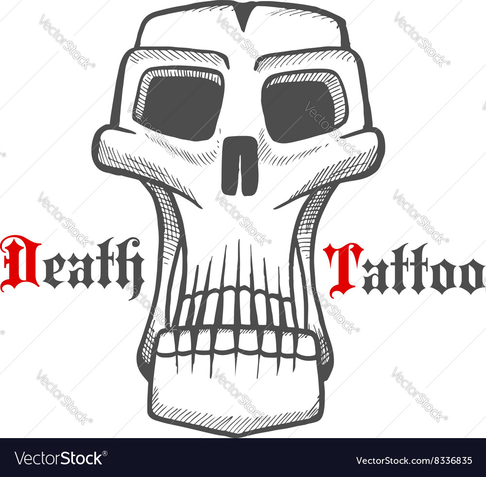 Gloomy skull or monster vintage sketch vector