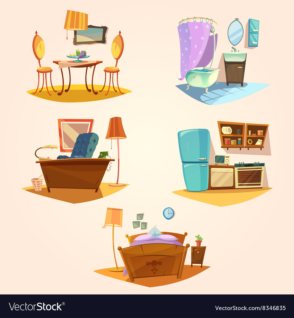 Interior cartoon retro set vector