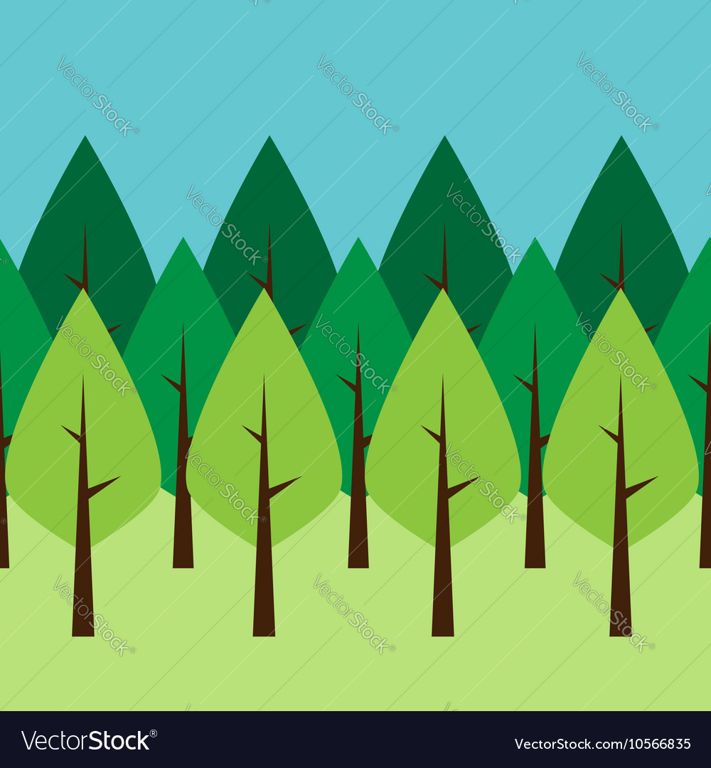 Seamless green trees vector