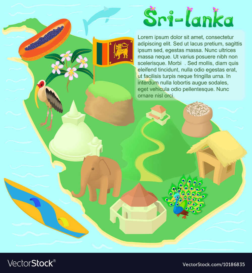 Sri lanka map cartoon style vector