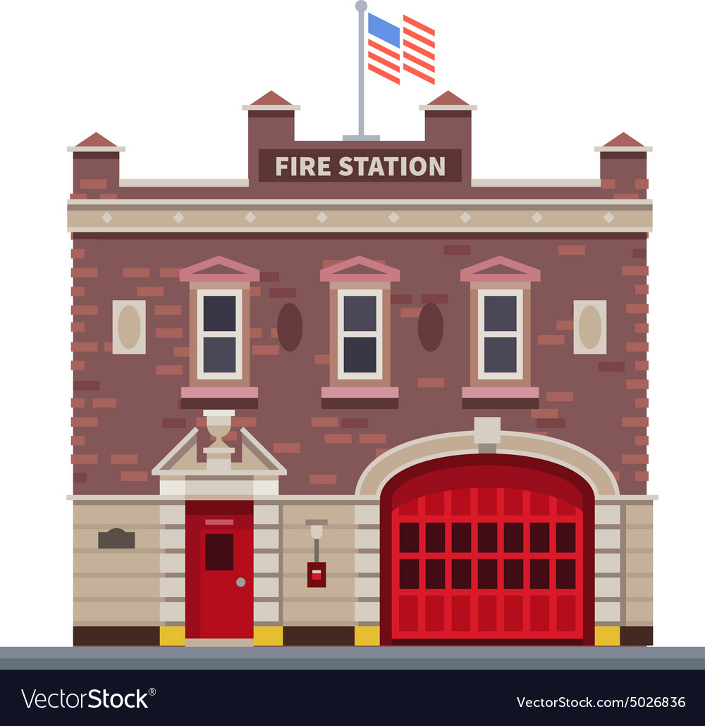Building of fire station vector