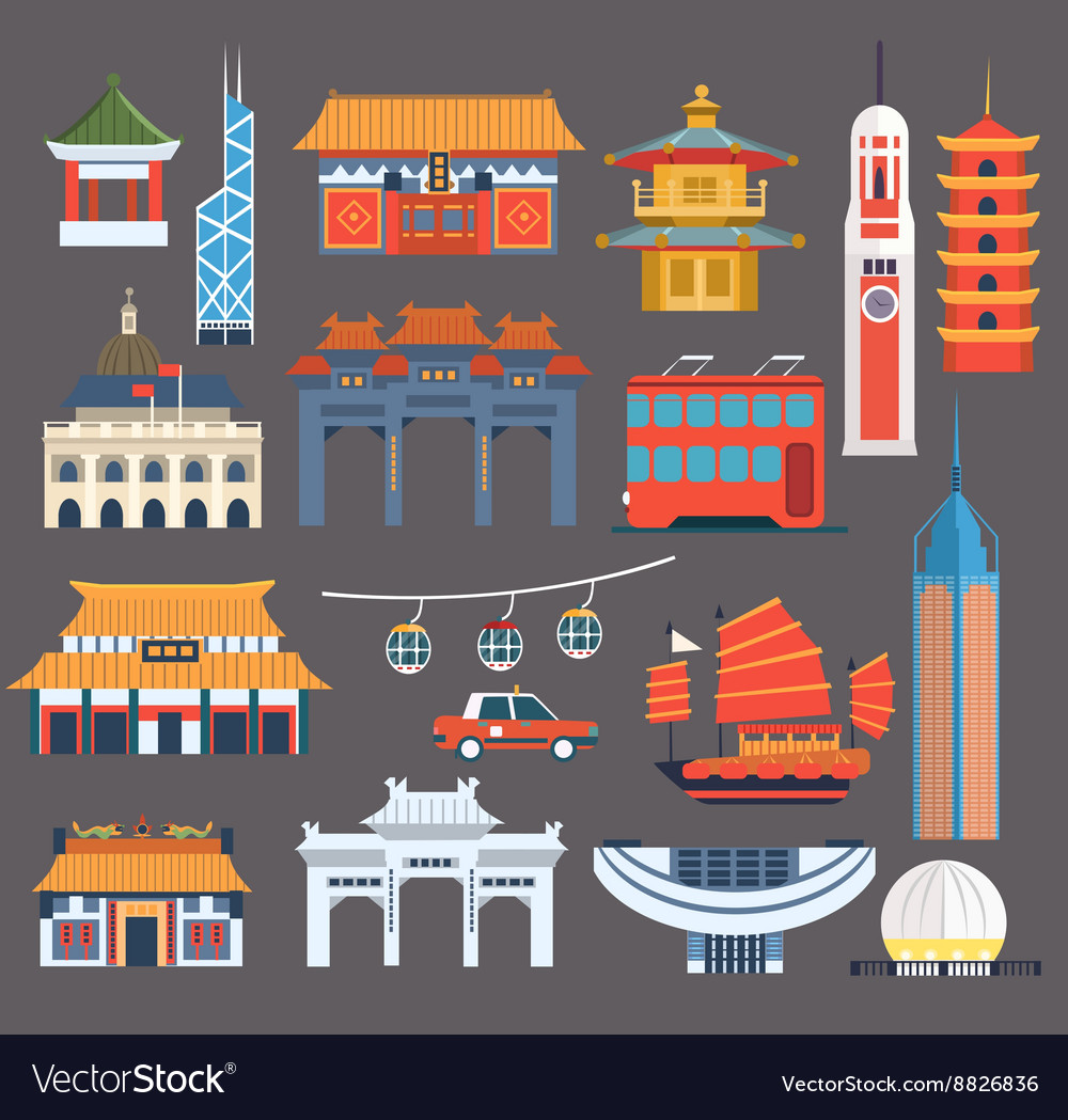 Chinese symbolic landmarks collection vector