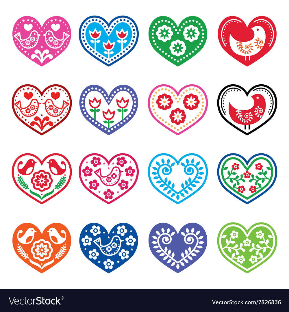 Folk art hearts with flowers and birds icons set vector