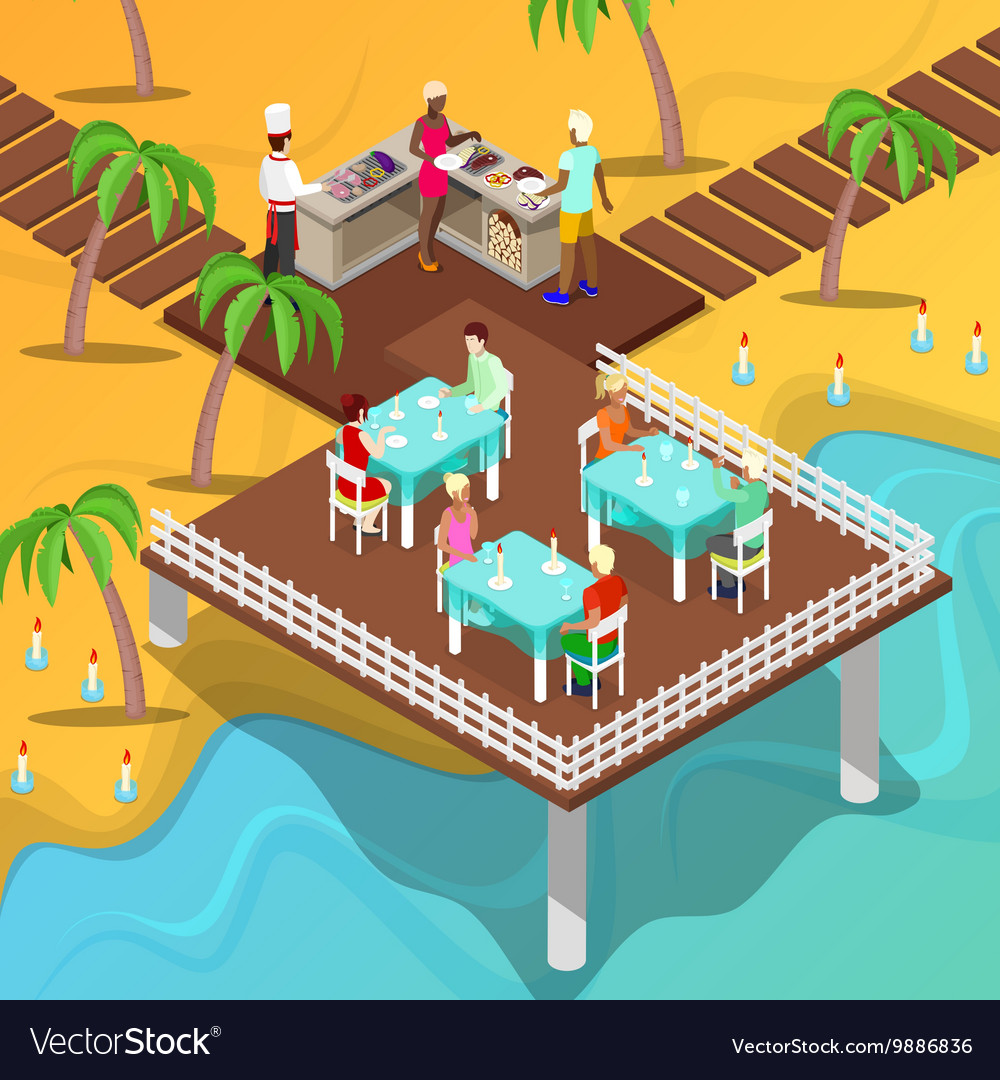 Isometric beach restaurant beach bbq vector
