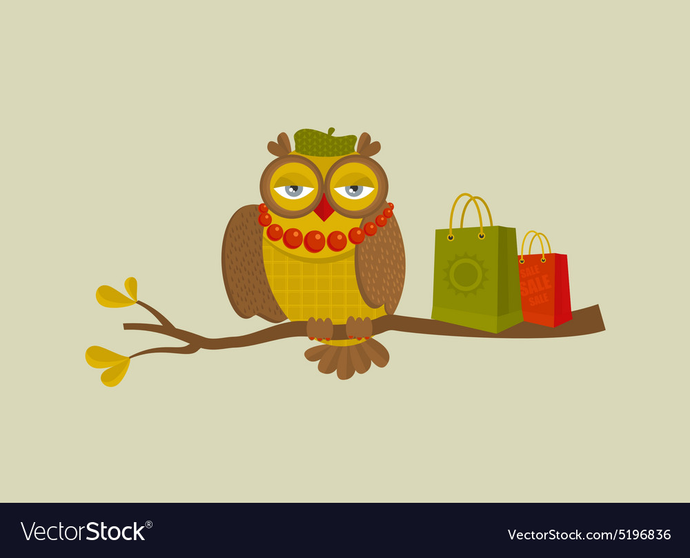 Portrait of fashionable owl on great autumn sale vector