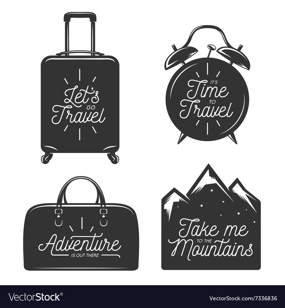 Travel typography set of design elements vector