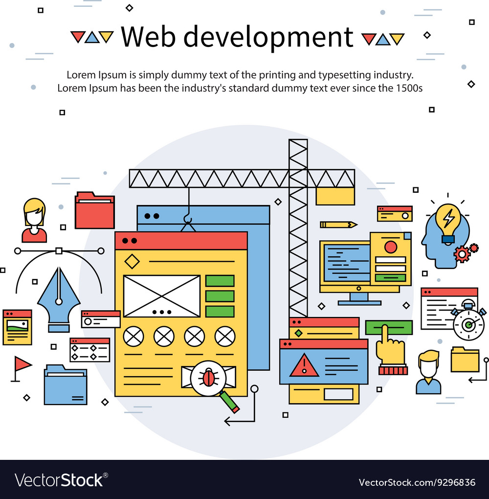 Web development line composition vector