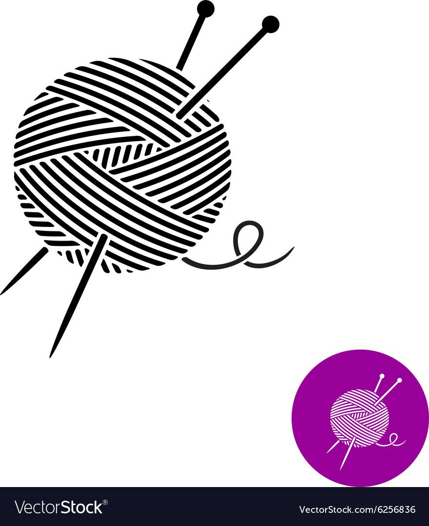 Yarn ball with needles logo black and white color vector
