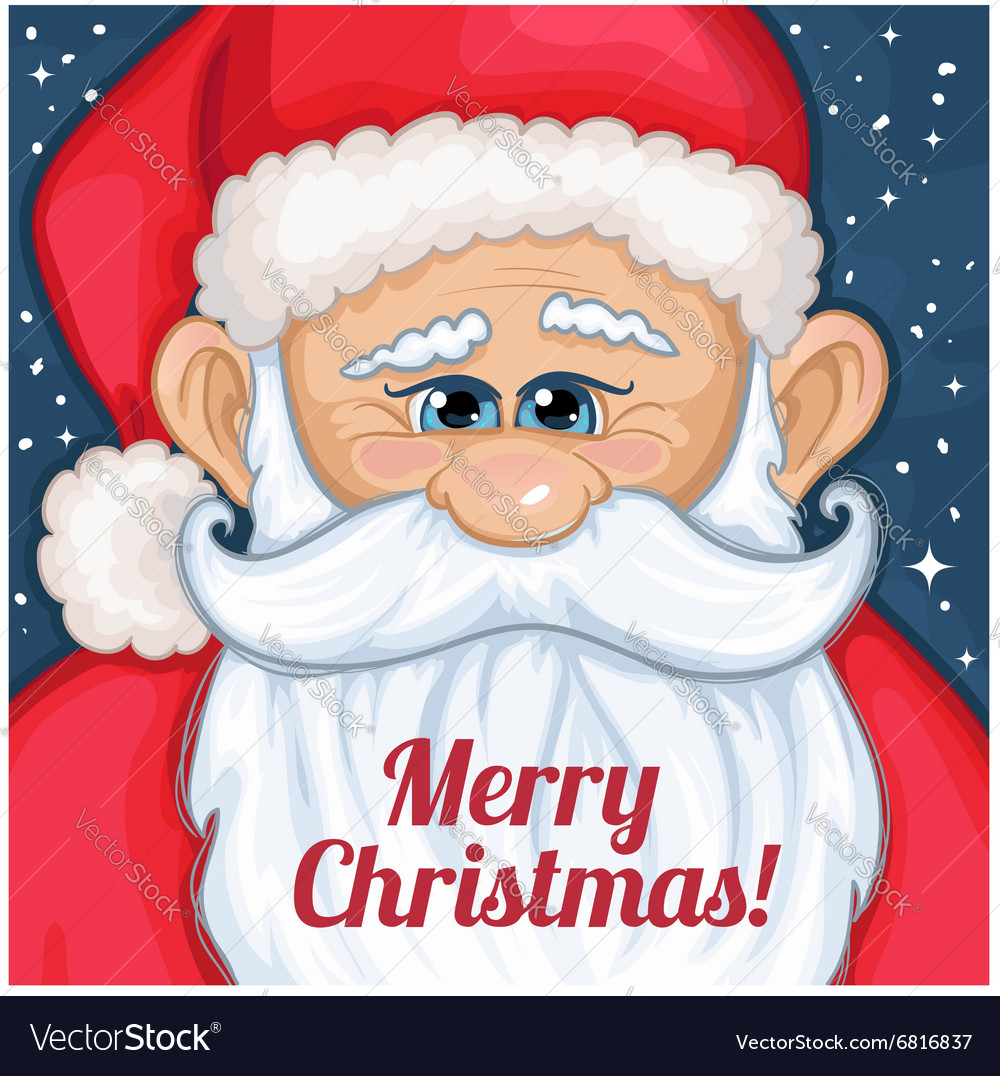 Cute cartoon santa claus with christmas greetings vector