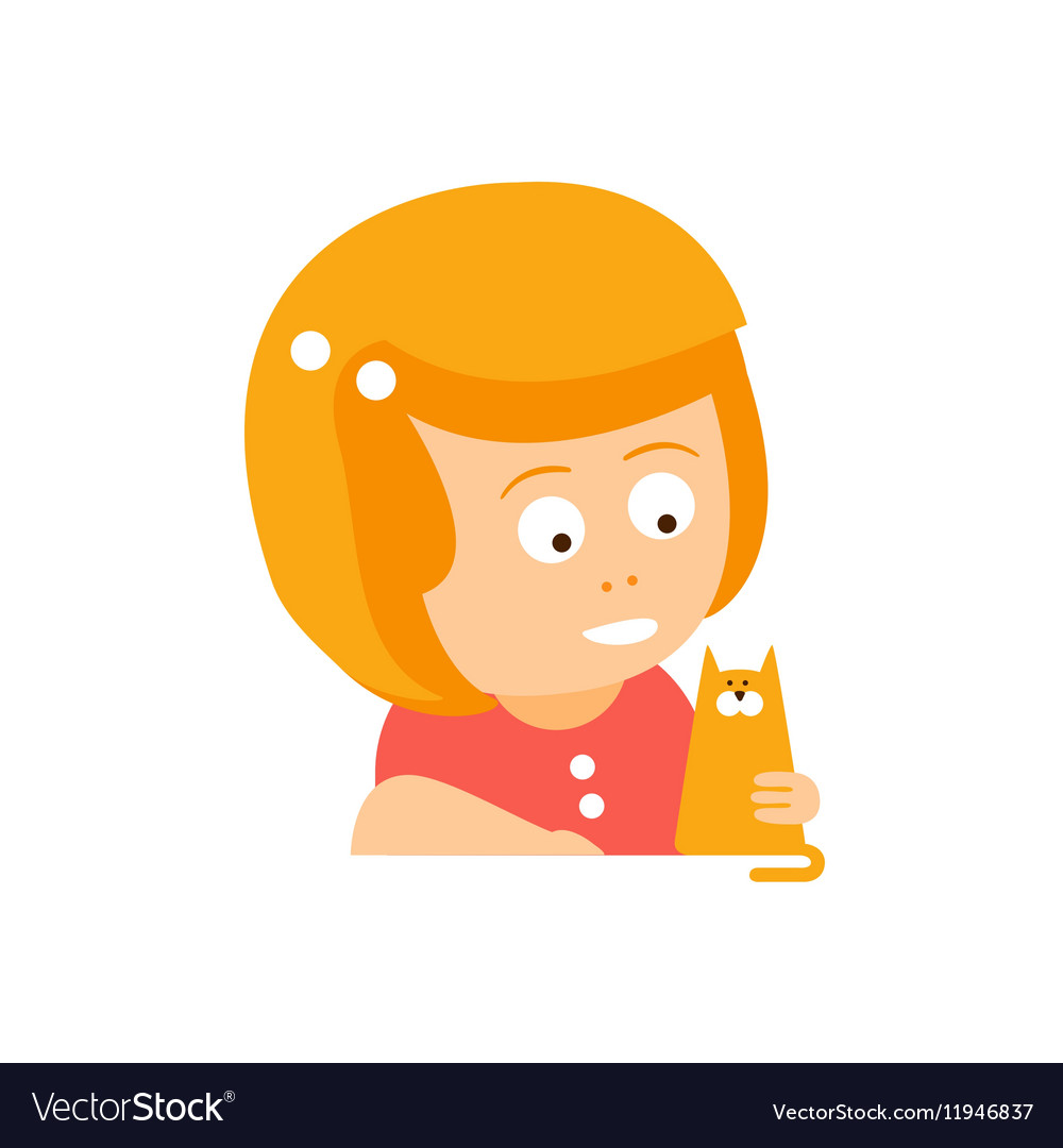 Little red head girl in red dress petting a cat vector