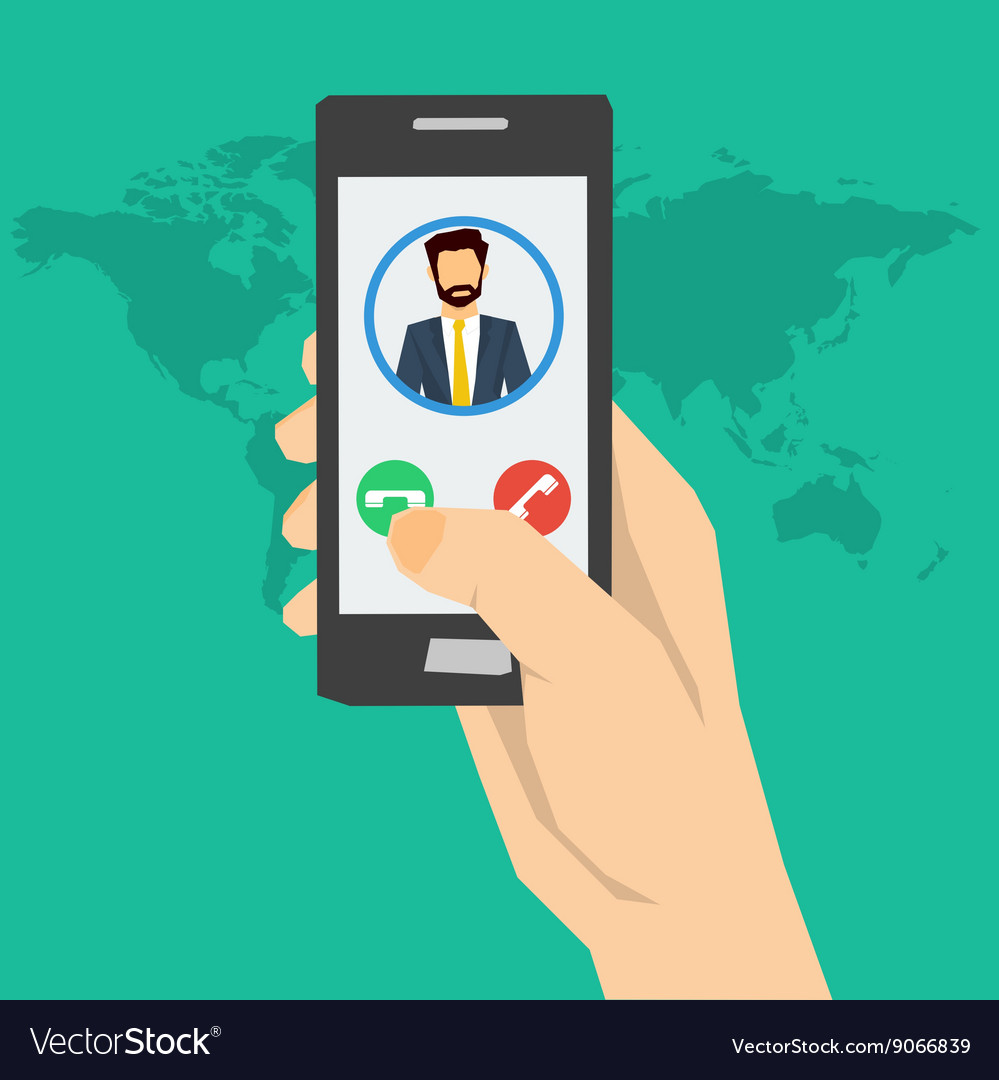 Call to man  hand with phone vector