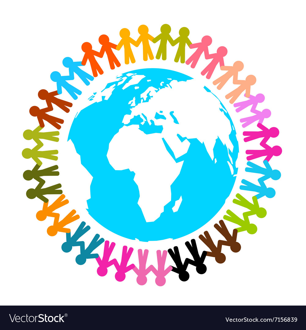 People around earth  globe flat design isol vector