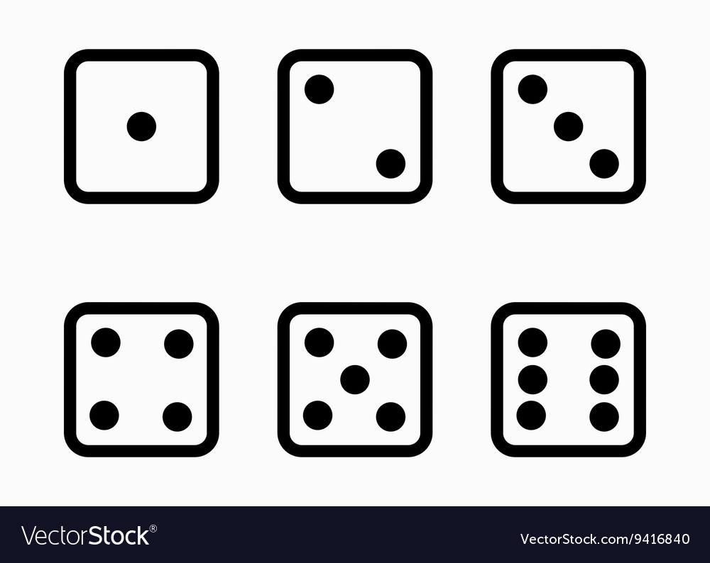 Black line dice cubes icons set vector