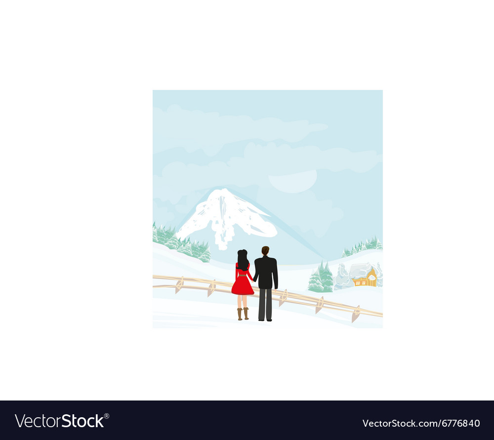 Couple walk on a winter day vector