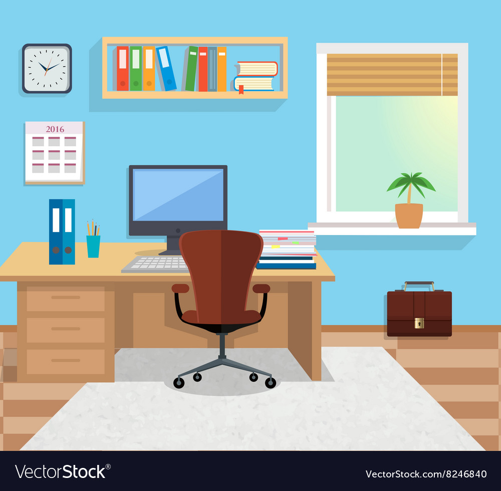 Interior office room for design vector