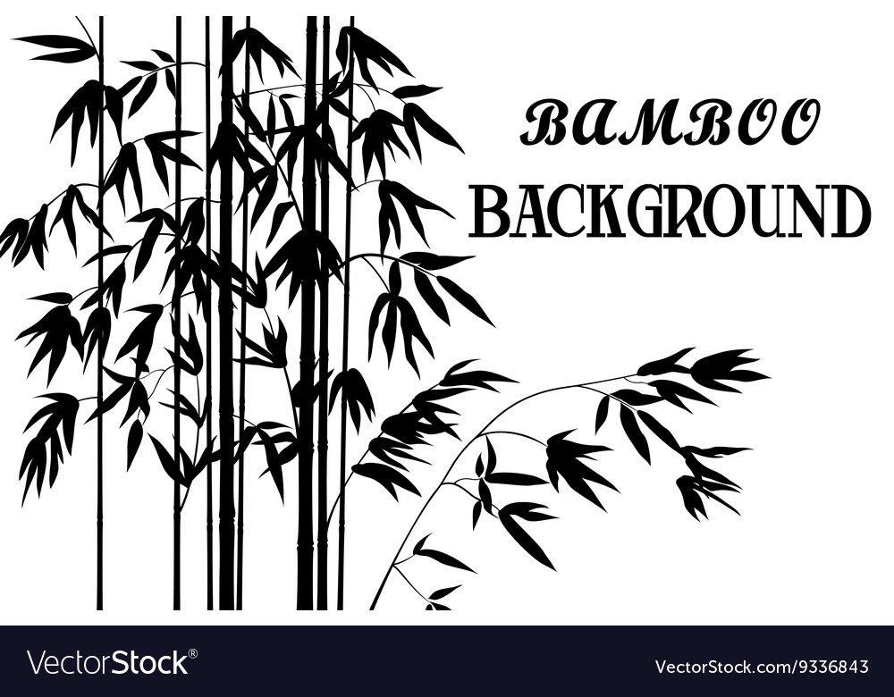 Bamboo stems with leaves silhouettes vector