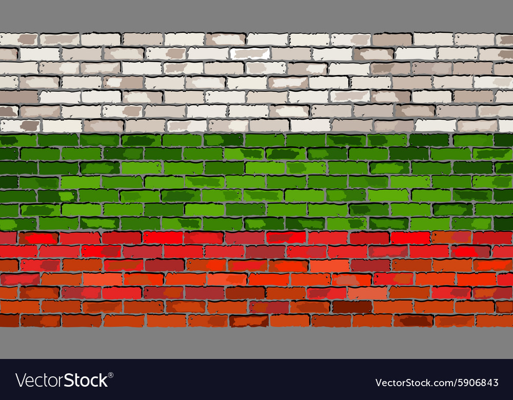 Grunge flag of bulgaria on a brick wall vector