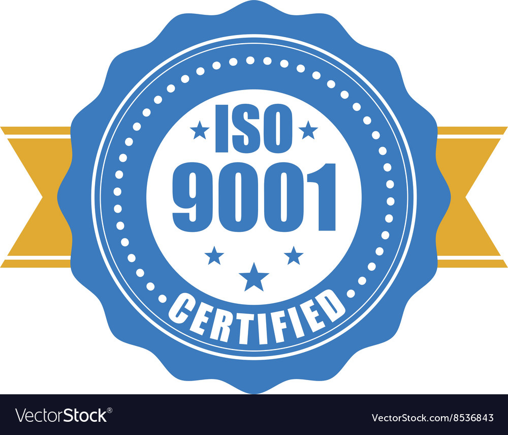 Iso 9001 certified  quality standard seal vector