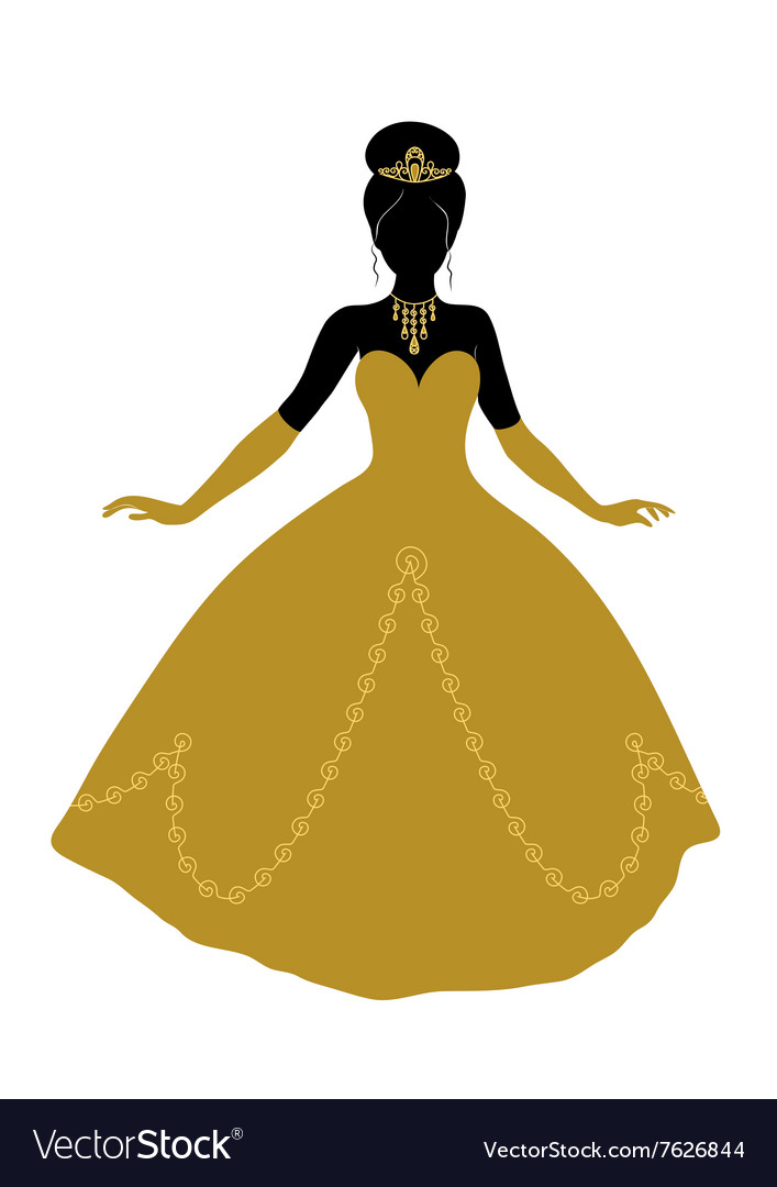 Black silhouette of princess in golden dress vector