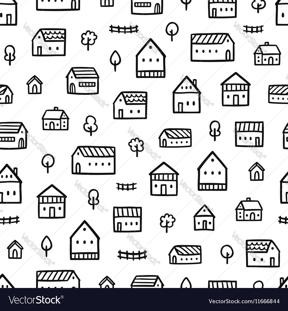 City houses doodle pattern vector