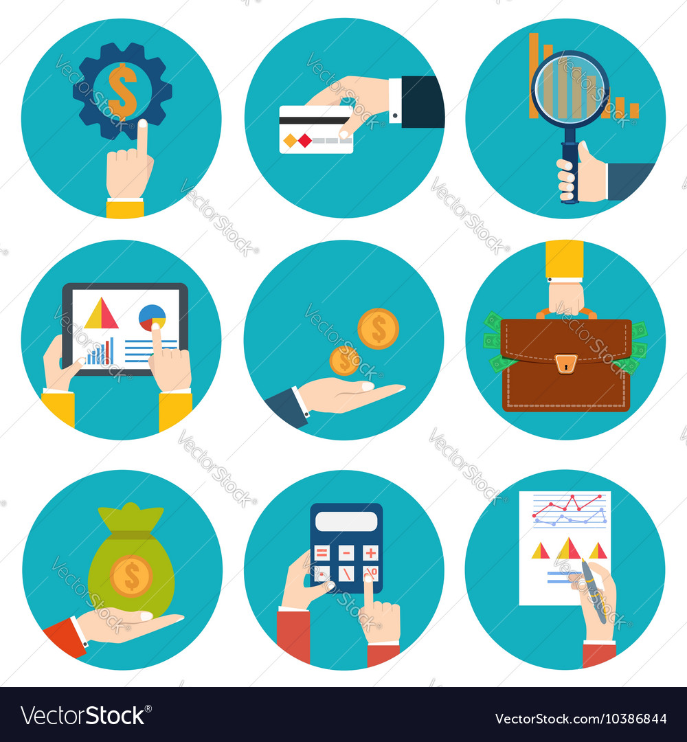 Financial examiner icon economic statistic icon vector