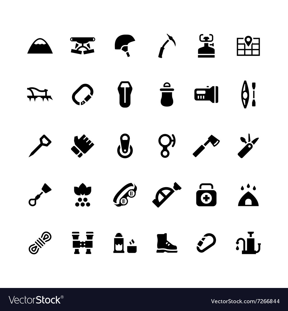 Set icons of camping and mountaineering vector