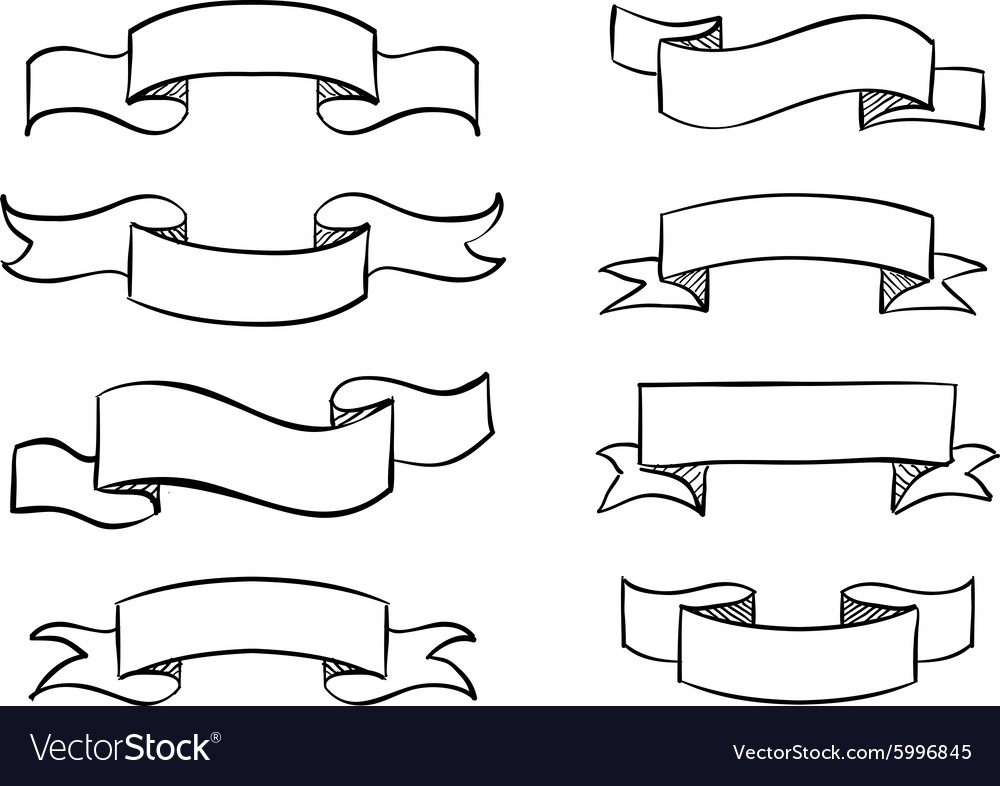 Handdrawn banner scribble vintage scroll vector