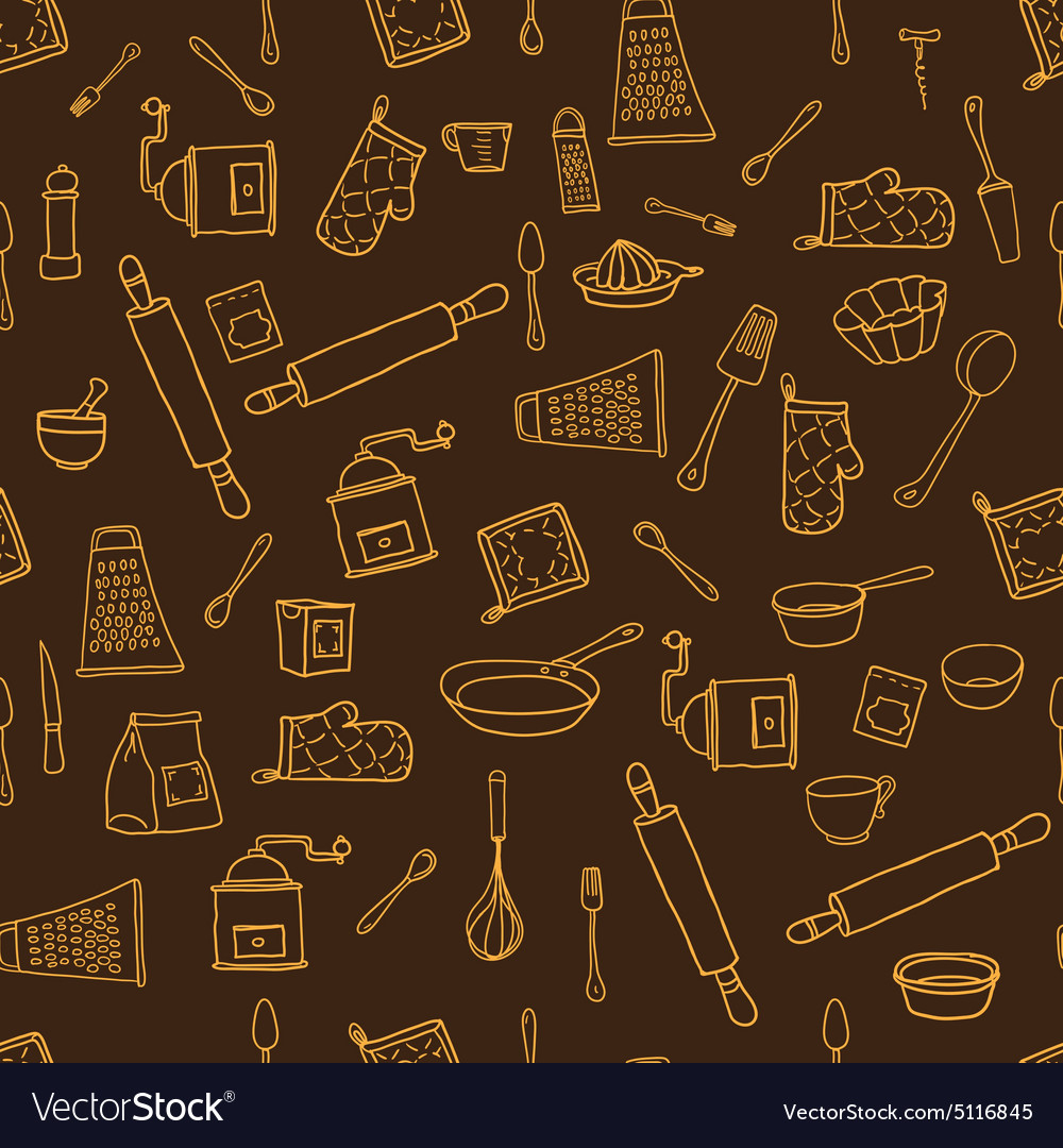 Seamless pattern with hand drawn cookware on the vector
