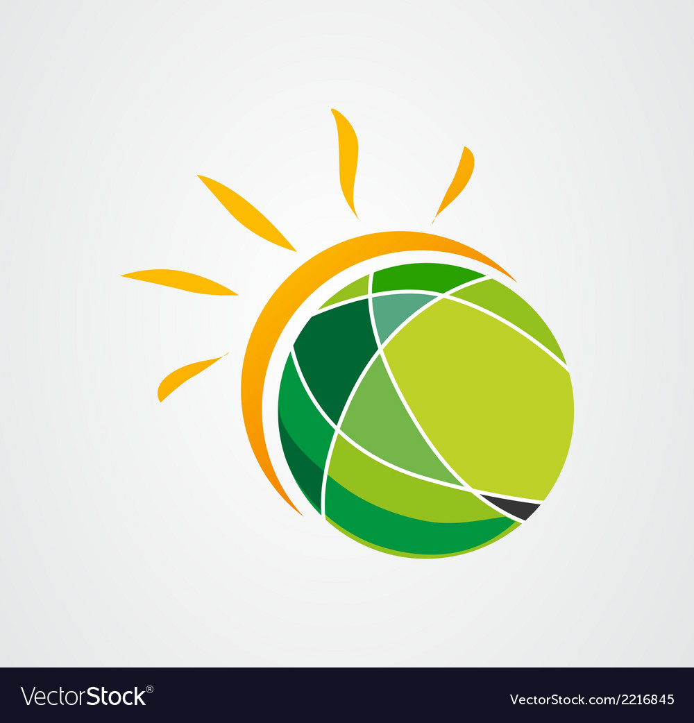 Sun earth logo icon vector