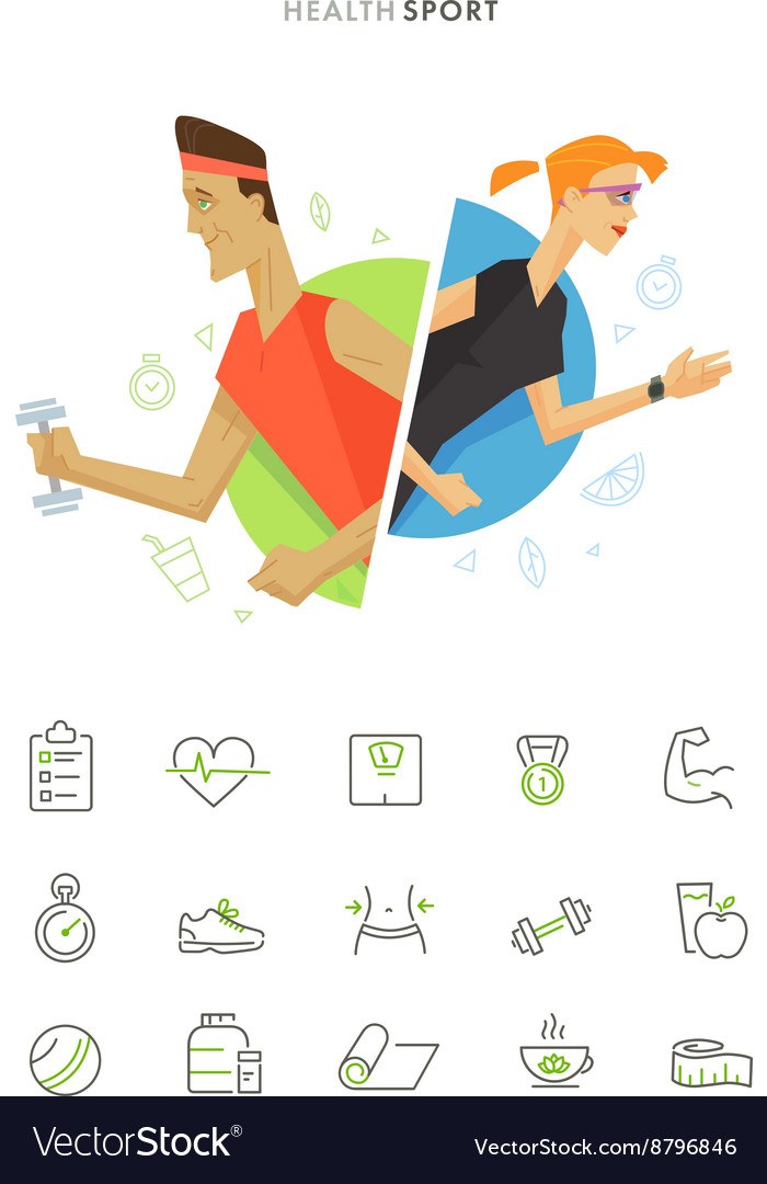 Athletic man and woman symbol icon vector