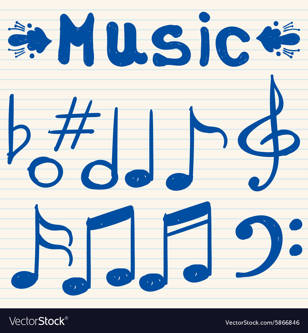 Set of hand drawn sketched doodled music notes and vector