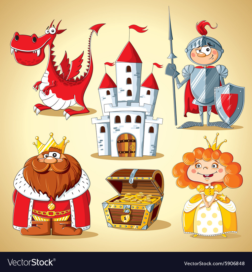 Set of fairy tale characters vector
