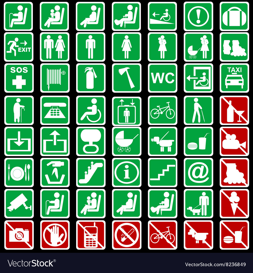 Collection of international signs used in vector