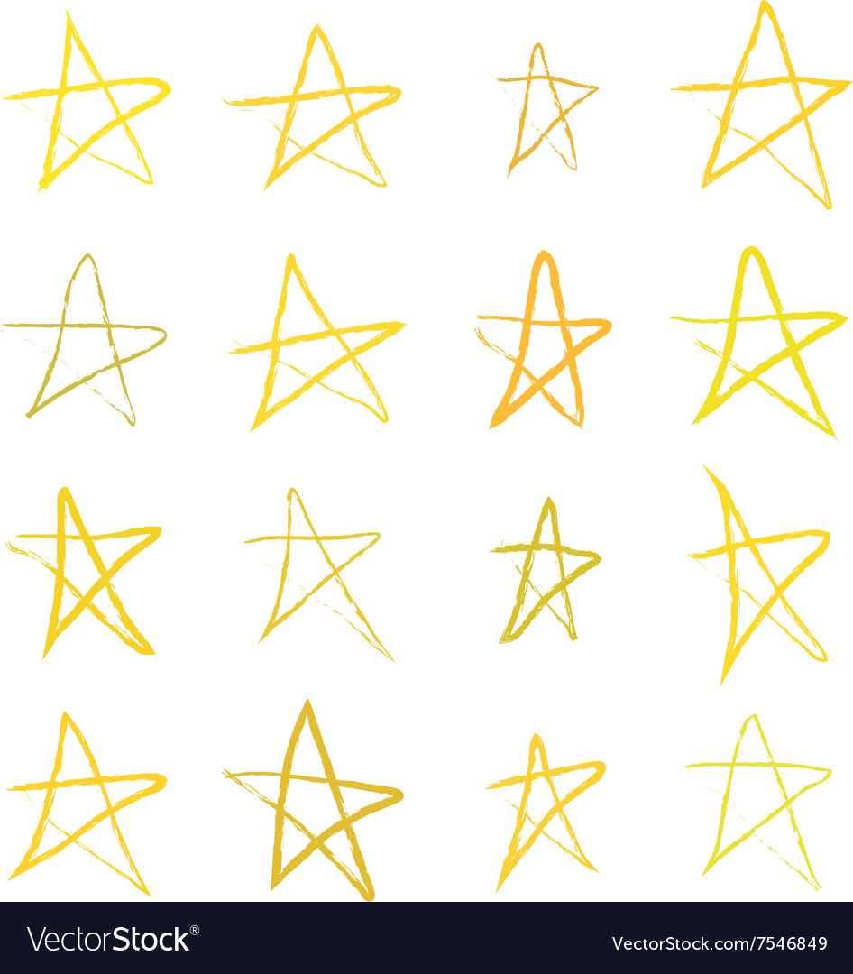 Set of golden handdrawn stars on white vector