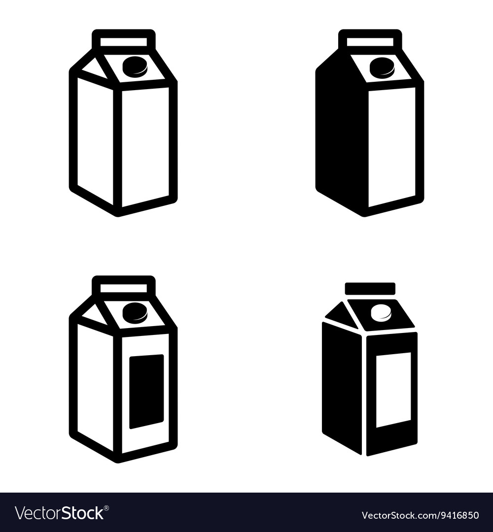 Black milk carton packages icons set vector