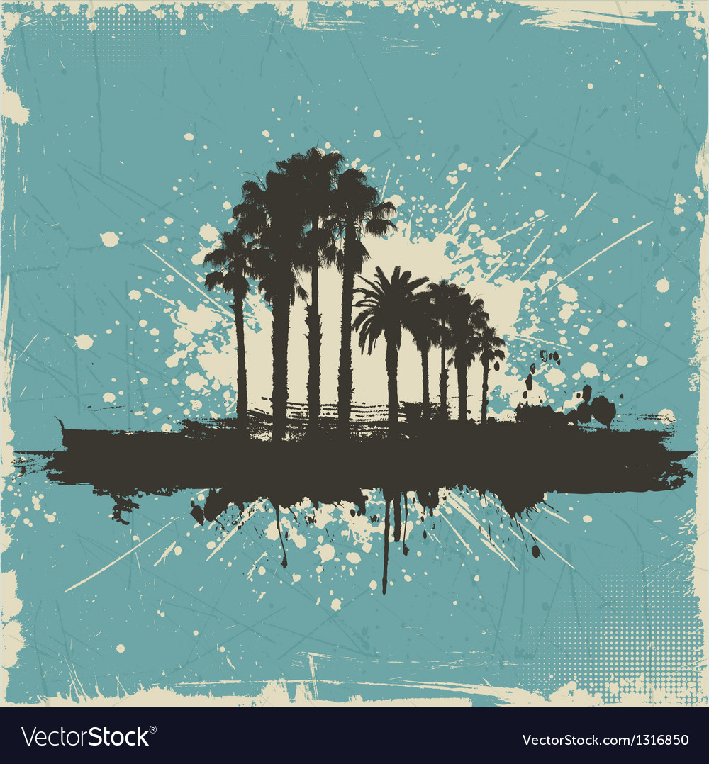 Vintage palm tree background vector