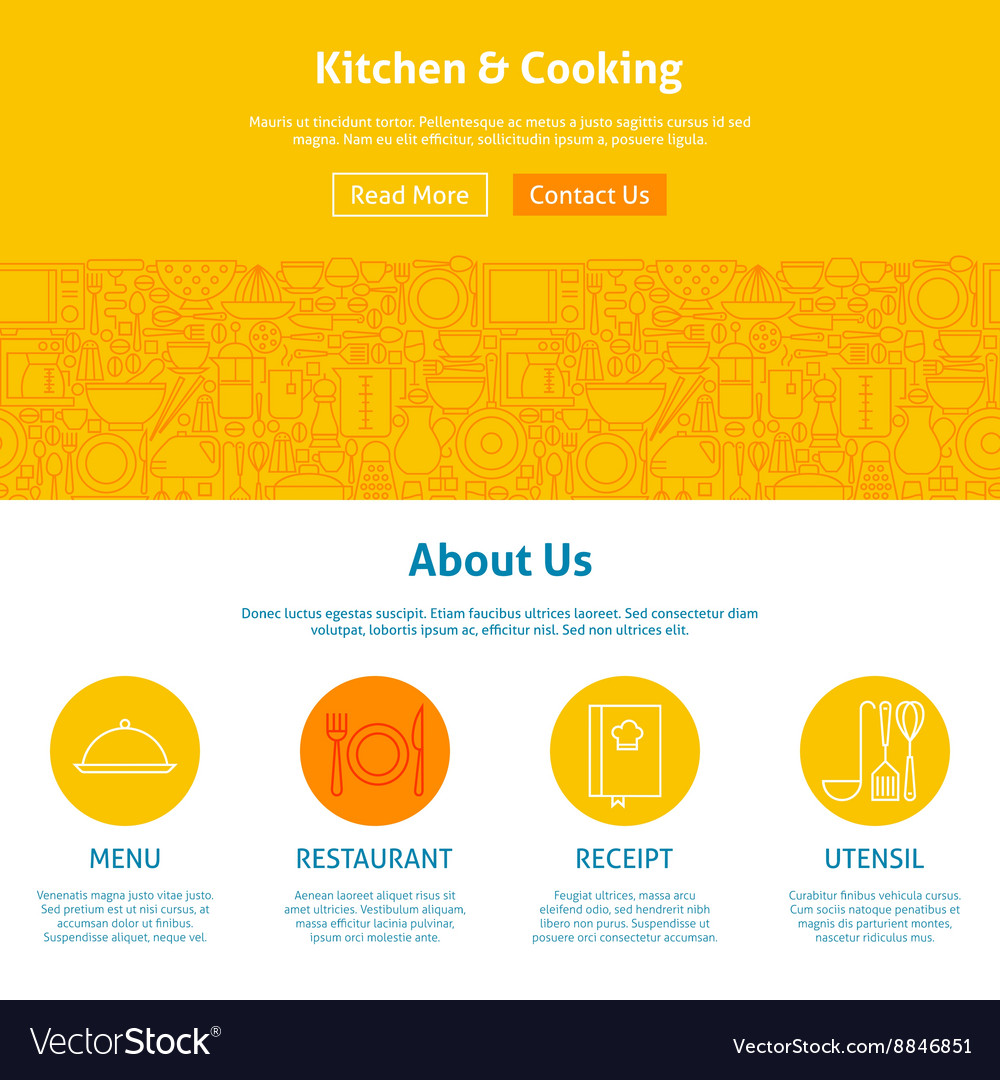 Kitchen and cooking line art web design template vector
