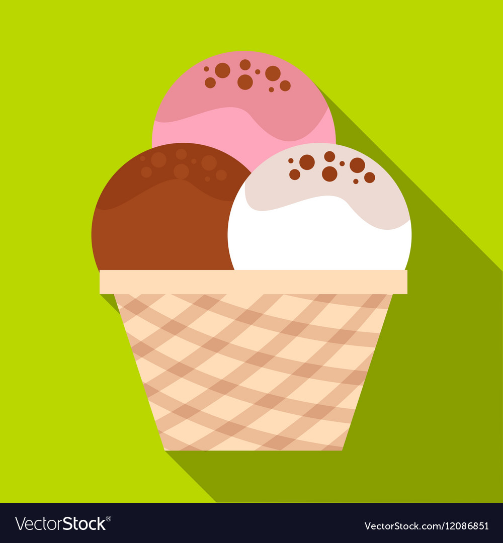 Mixed ice cream scoops in waffle bowl icon vector