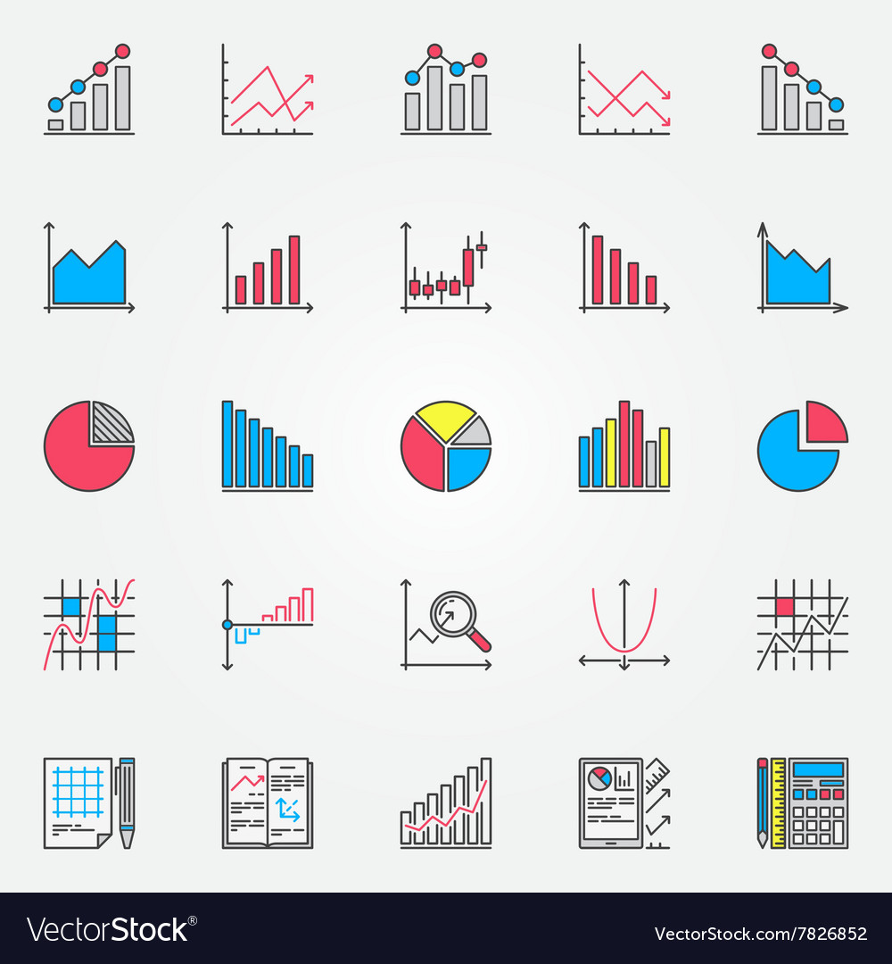 Colorful statistics set vector