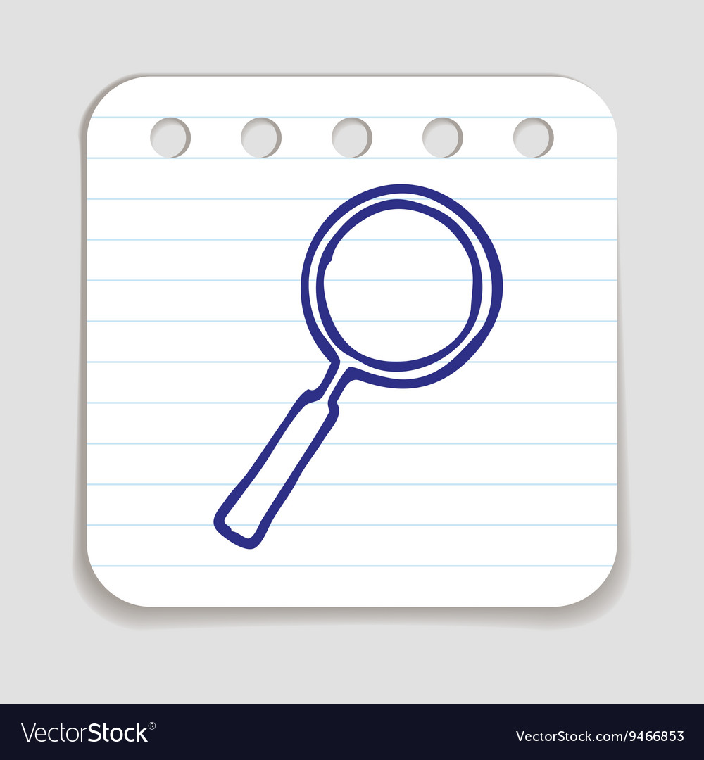 Doodle magnifying glass icon vector
