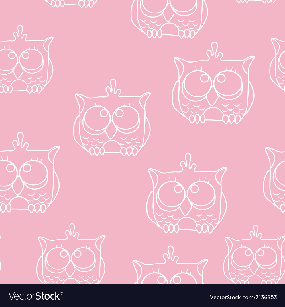 Funny seamless pattern with owls baby owls vector