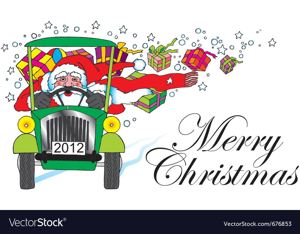 Santa claus with car and gifts vector