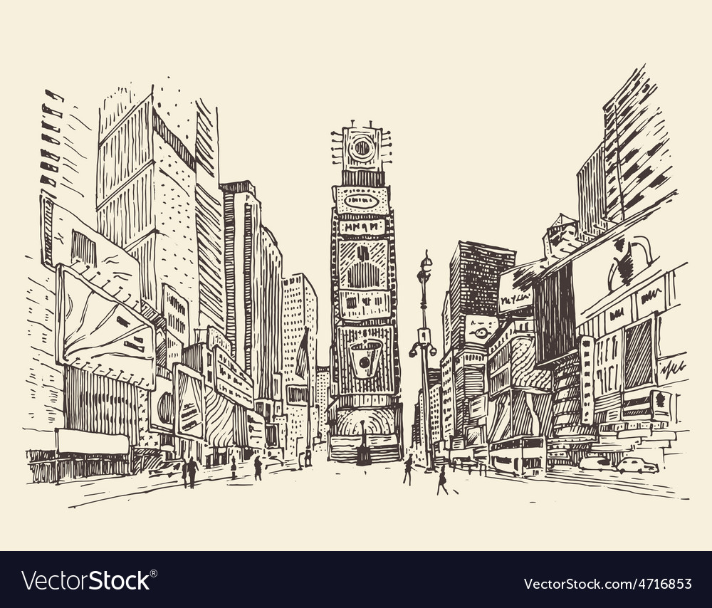 Times square street in new york city engraving vector