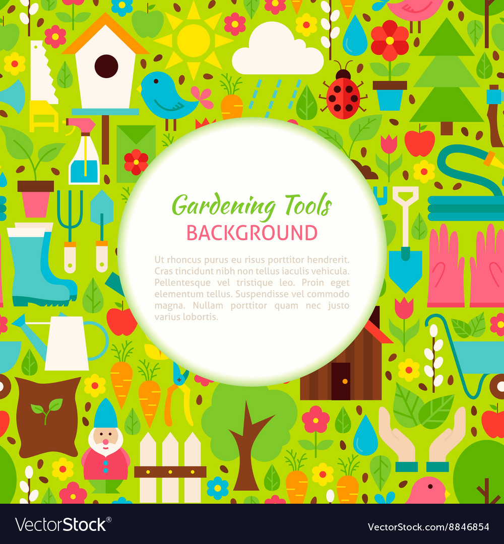 Flat gardening tools pattern background vector