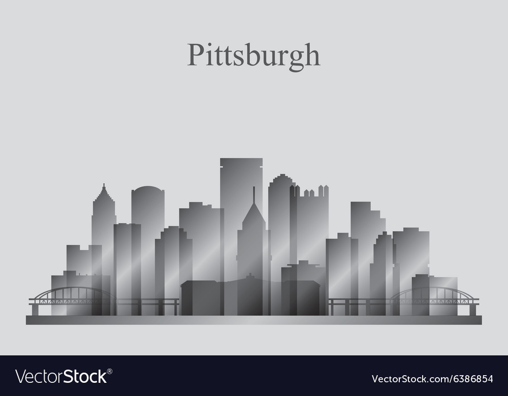 Pittsburgh city skyline silhouette in grayscale vector