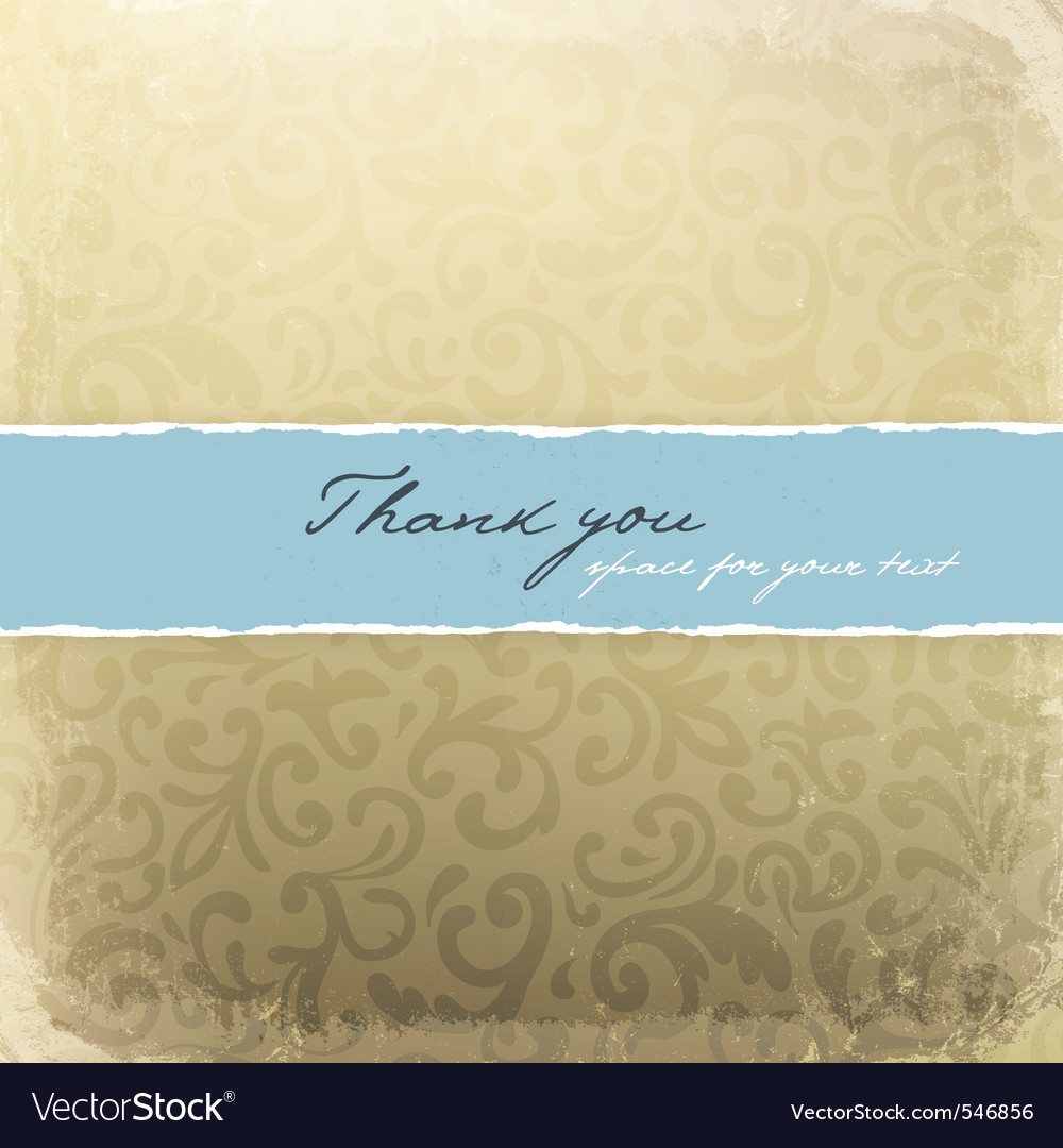 Retro golden decorative card with thank you sample vector