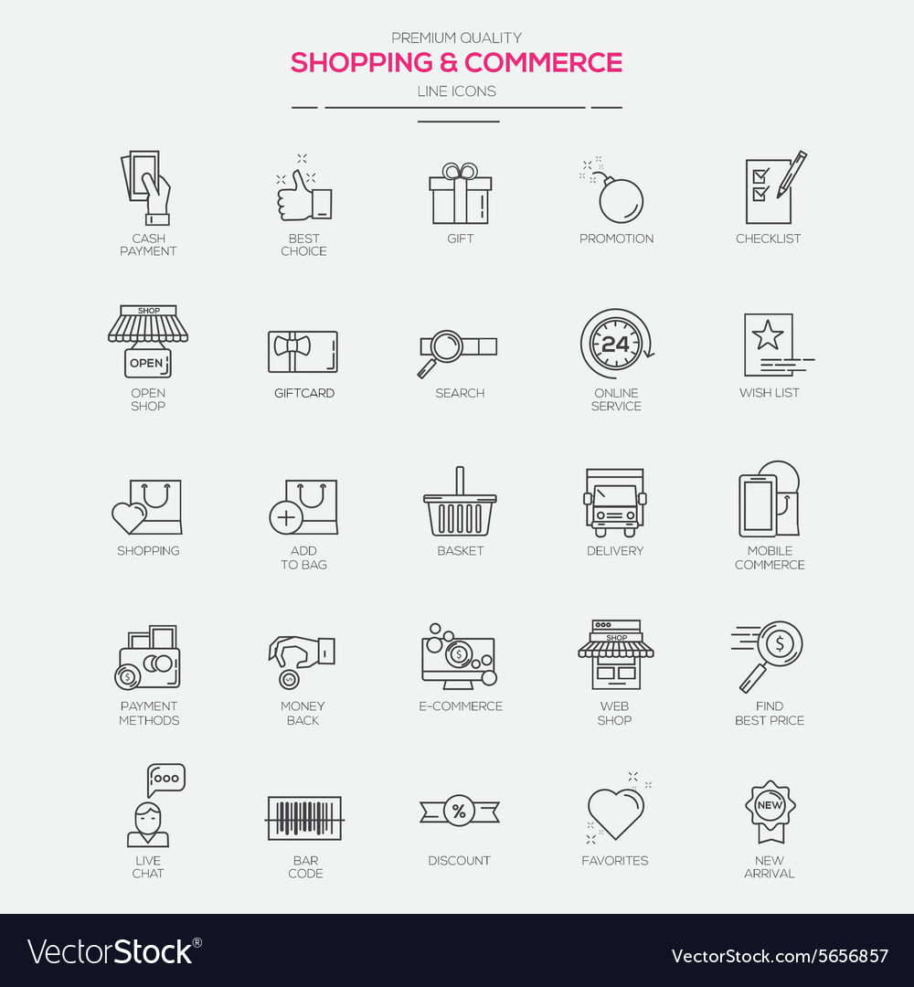 Line icons set shopping commerce vector